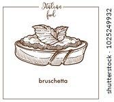 bruschetta snack sketch vector... | Shutterstock .eps vector #1025249932