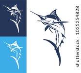 Hand Drawn Marlin Fish Jump....