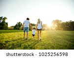 happy family playing in the... | Shutterstock . vector #1025256598