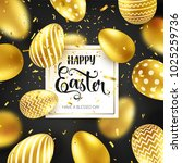 easter golden egg with... | Shutterstock .eps vector #1025259736