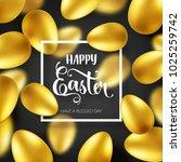 easter golden egg with... | Shutterstock .eps vector #1025259742