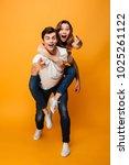 full length image of playful... | Shutterstock . vector #1025261122