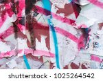 the wall with the remnants of... | Shutterstock . vector #1025264542