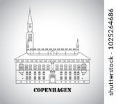 city hall square in copenhagen... | Shutterstock .eps vector #1025264686
