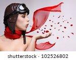 beautiful girl with helmet and... | Shutterstock . vector #102526802