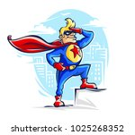 brave superhero man in costume... | Shutterstock .eps vector #1025268352