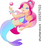 the little pretty mermaid is... | Shutterstock .eps vector #102527522