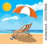 landscape of wooden chaise... | Shutterstock .eps vector #1025278006