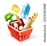shopping basket. organic food... | Shutterstock .eps vector #1025283388