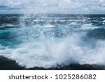 splashes of ocean waves ... | Shutterstock . vector #1025286082
