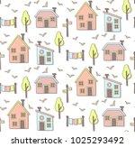 houses in the scandinavian... | Shutterstock .eps vector #1025293492
