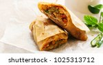 homemade indian veg wrap  ... | Shutterstock . vector #1025313712