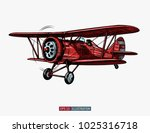 Hand drawn retro airplane. Realistic vintage biplane isolated. Engraved style vector illustration. Template for your design works.
