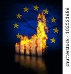 European Union economy crisis, burning graph charts against the European union flag - stock photo
