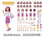 shopping girl character... | Shutterstock .eps vector #1025320408