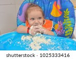 9 month children  eating pasta... | Shutterstock . vector #1025333416