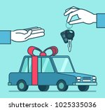 hand gives car keys over the... | Shutterstock .eps vector #1025335036