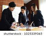 boss leading of meeting.... | Shutterstock . vector #1025339365