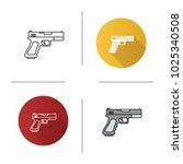 gun  pistol icon. flat design ... | Shutterstock .eps vector #1025340508