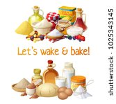 ingredients for baking and... | Shutterstock .eps vector #1025343145