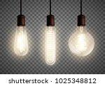set of vintage spiral edison... | Shutterstock .eps vector #1025348812