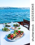 fish  appetizer and turkish... | Shutterstock . vector #1025353045
