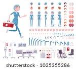 female nurse in blue uniform... | Shutterstock .eps vector #1025355286