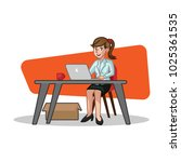 business woman sit behind the... | Shutterstock .eps vector #1025361535