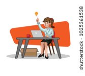 business woman sit behind the... | Shutterstock .eps vector #1025361538