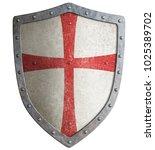 metal shield of medieval... | Shutterstock . vector #1025389702