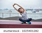 sports concept. beautiful girl... | Shutterstock . vector #1025401282