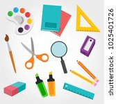 school material rubber pencil... | Shutterstock .eps vector #1025401726