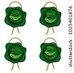 green wax seal with golden rope ... | Shutterstock .eps vector #1025401876