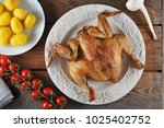 fried chicken and boiled...   Shutterstock . vector #1025402752