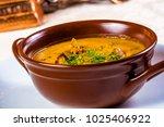 cream soup with chanterelles ... | Shutterstock . vector #1025406922