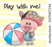 cute cartoon pig with a ball on ... | Shutterstock .eps vector #1025407246