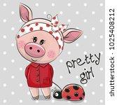 cute cartoon piggy girl in a... | Shutterstock .eps vector #1025408212