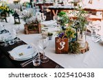centerpiece on wedding table... | Shutterstock . vector #1025410438