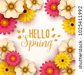 colorful spring background with ... | Shutterstock .eps vector #1025411992