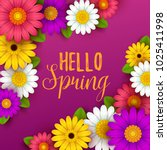 colorful spring background with ... | Shutterstock .eps vector #1025411998