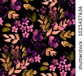 Stock photo watercolor seamless pattern with simple hand drawn flowers floral print 1025437636