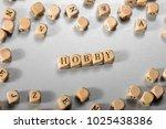 hobby word on wooden cubes....   Shutterstock . vector #1025438386