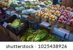 fresh produce on table at... | Shutterstock . vector #1025438926