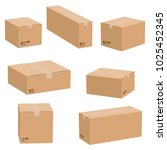 set of cardboard boxes isolated ...