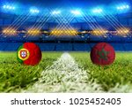 3d rendering football. group b  ... | Shutterstock . vector #1025452405
