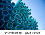 stacks of blue pvc water pipes   Shutterstock . vector #102545405
