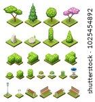 isometric park constructor. set ... | Shutterstock .eps vector #1025454892