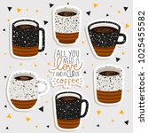 set of six illustrations of cup ... | Shutterstock .eps vector #1025455582