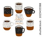 set of six illustrations of cup ... | Shutterstock .eps vector #1025455588