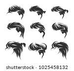 set of men hairstyles and... | Shutterstock .eps vector #1025458132